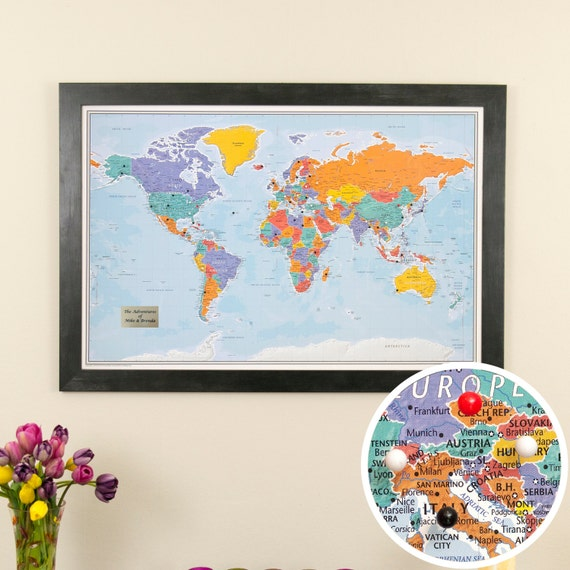 Personalized Blue Oceans World Travel Map with Pins and Frame