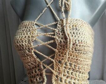 Lace Up Top Coachella Style Crochet Top Halter Top Festival Top Bikini Top Bridal Top Beachwear Gypsy Top