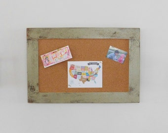 Sage Green FRAMED CORK BOARD - Bulletin Board - Made from Distressed Wood - 24 x 36 - More Colors Available