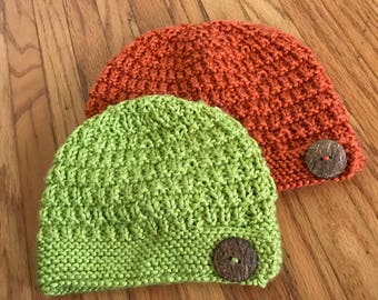 Child's Knit Hat with Rustic Button
