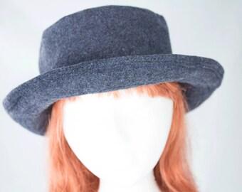 Womens Curled Wide Brim Wool Hat | Warm Winter Hat Sewn from Heavy Wool | Blue, Black, Grey | Rolled Brim Upturned Brim Diane Keaton Hat