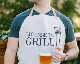Apron, License To Grill, present, grilling apron, menswear, housewarming gift, kitchen decor
