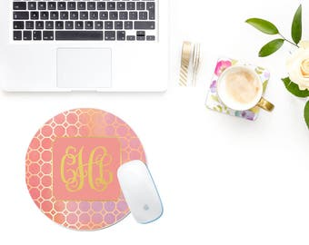 Geometric Mousepad Pink - Mad For Monograms - Monogrammed Mousepad - Preppy Mousepad - Pink and Gold Mousepad