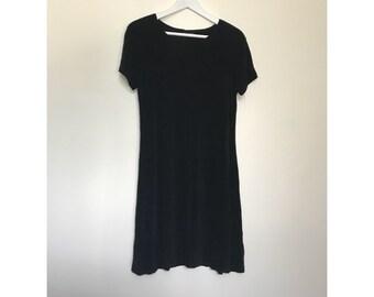 Vintage Black Short Sleeve Mini Dress
