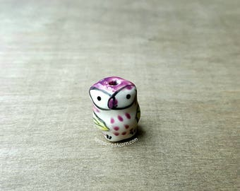 Tiny Purple Ceramic Owl Bead - Miniature Owl Fairy Garden Accessories Terrarium Mini Garden Bird Jewelry Kawaii Owl Earrings