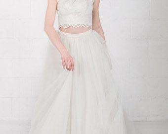 Bridal tulle skirt, long tulle skirt, ivory tulle skirt, 2 piece bridal gown, floor length tulle skirt, tulle wedding skirt, long prom skirt