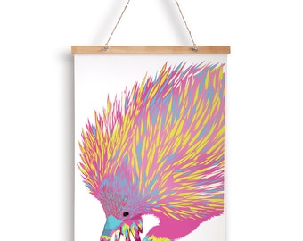 "A4 ""Echidna"" geometric art print - neon - original drawing"