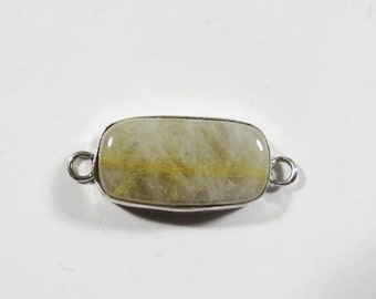 Bracelet Link, Gold Rutilated Quartz Link, Sterling Silver Jewelry Connector Component, 30x13mm, Bracelet Component, Gold Bracelet Connector