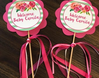 Baby Shower center pieces - center pieces - Personalized center pieces - pink - Set of 3