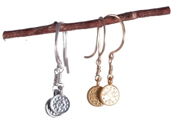 Small Delicate Coin Earrings //  Silver or Gold Hanging Earrings //  Matches Newsroom Inspired Necklace // Simple Jewelry by Shibusa Studio