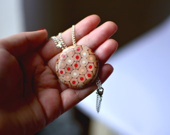 Cute, small colored pencils necklace/locket made of colored pencils