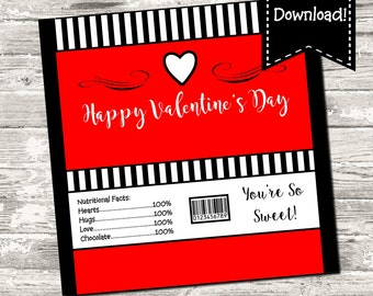 Instant Download Happy Valentine's Day Valentine Candy Bar Chocolate Bar Wrappers Favor Print Your Own Digital