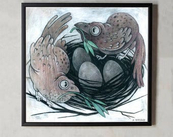 Bird Parents with their Nest and Eggs