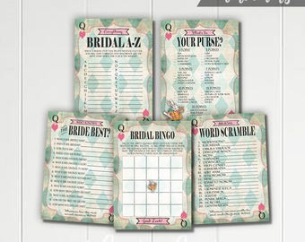 Alice in Wonderland Printable Bridal Shower Games - Bingo - Word Scramble - Who Knows Bride Best - What's In Your Purse  Green Mad Tea Party