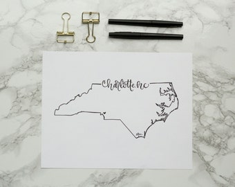 Charlotte North Carolina Hand-lettered Calligraphy Print - Wall Art - Home Decor - UNCC - Forty Niners - Queen City - Panthers - Hornets