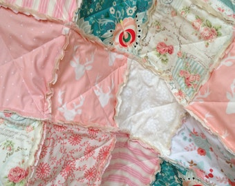 Crib Rag Quilt, Deer Pink Roses Teal Blue Coral Shabby Chic Baby Quilt Girl Baby Girl Crib Bedding