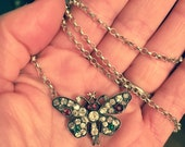 Antique Silver and Diamond Paste Sweetheart Butterfly Neckace  Butterfly Ball