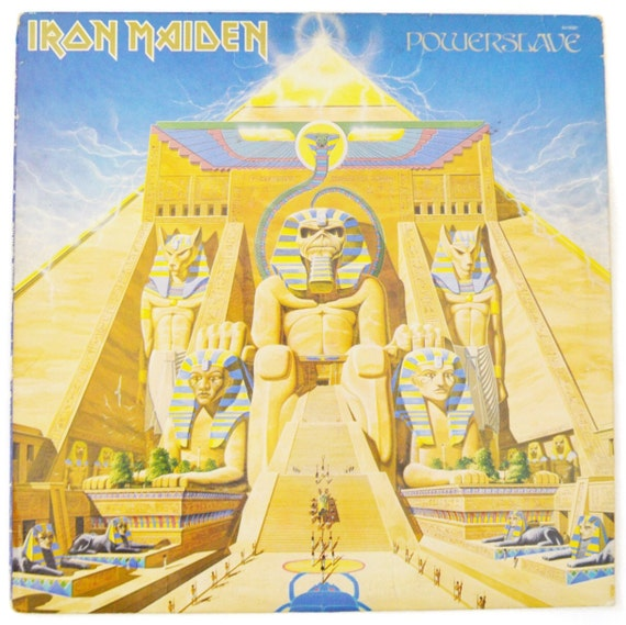 Vintage 80s Iron Maiden Powerslave Heavy Metal Album Record Vinyl LP