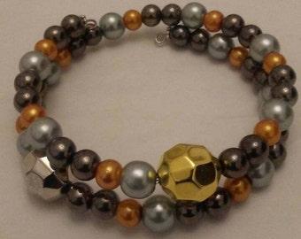 Golden Round Glass Beads Memory Wire Bracelet