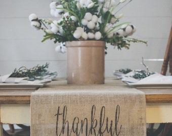 Fall Burlap Table Runner, Table Runner, Thankful, Thanksgiving, Farmhouse Table Runner *Free Shipping *