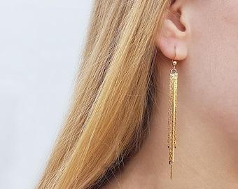 Gold long earrings, Tassel gold earrings, Dangle earrings, Delicate gold earrings, Everyday gold earrings, Fashion jewelry, Birthday gifts
