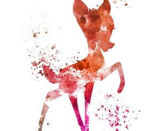 Bambi ART PRINT illustration, Disney, Mixed Media, Home Decor, Nursery, Kid