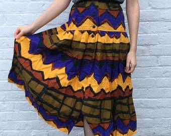 Vintage Graphic Bright Patterned Midi Skirt