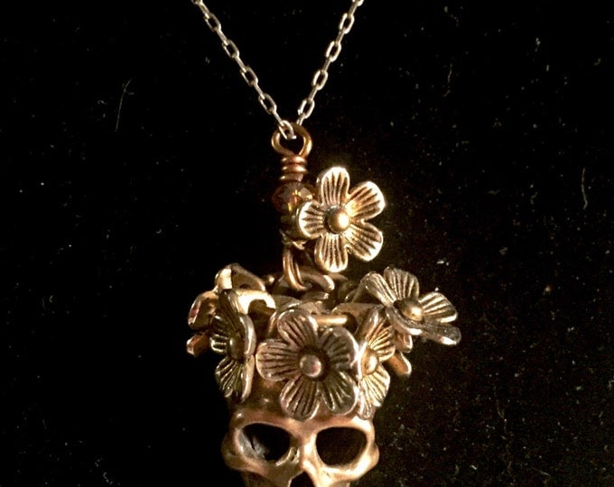 Sugar Skull in Sterling Silver adorned with flowers, skull,calavera,Day of Dead,Dia de los Muertos,Goth,Frida Kahlo,sugar skull, halloween