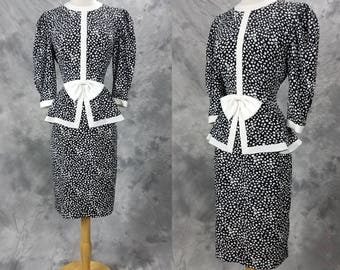 1980s secretary dress, black and white print, career wear, Liz Petites, XS, petite