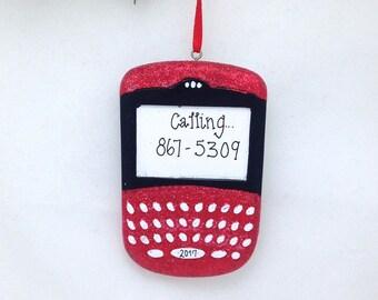 CLEARANCE: Glitter Blackberry Christmas Ornament / Personalized Ornament / Hand Personalized