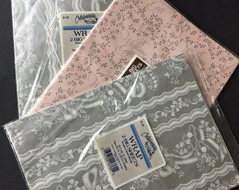 Vintage Gibson Wedding Gift Wrap Sheets- Sealed in Package- Silver with Bells, Pink with Silver Hearts, Vines
