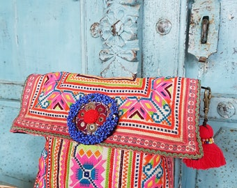 Hmong Handmade Vintage Textile Hilltribe summer Evening clutch Embroidered Tribal crafts