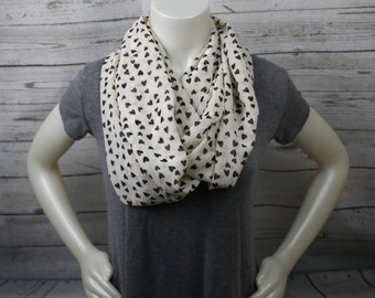 Off White and Black Hearts Infinity Scarf, Hearts Loop Scarf, Extra Long Infinity Scarf