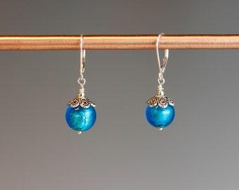 "Venetian Murano earrings ~ EasterJewelry ~ Venetian Earrings ~Sterling earrings ~ Blue jewelry ~ Jewelry Gift ~ ""Blueberry Jam"""