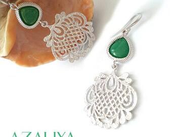 Teal Green Filigree Chandeliers. Emerald Filigree Earrings. Azaliya Luxury Line. Bridal, Bridesmaids Gifts. Mother-in-Law Earrings.
