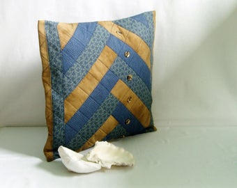 Blue and Brown 15 x 15 Pillow Cover, Quilted Patchwork Decorate Pillow Cover, Accent Pillow Cover, Upcycled Repurposed Fabric Pillow Cover
