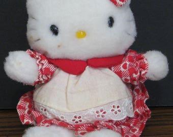 """Hello Kitty 1970s Vintage 6"""" Plush Cat - Sanrio"""