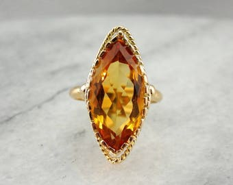 Mid Century Citrine Ring, Marquise Cut Citrine Statement Ring WR962E-R