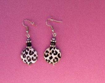 Leopard print earrings, leopard print jewellery, leopard print jewelry, leopard earrings, animal print jewelry, animal leopard spot earrings