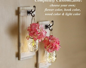 "Mason Jar Wall Sconces, Wall Decor, Lighted Sconces, Wall Hangings, Rustic Decor, Wall Sconce, Wall Sconce Set W/ Hydrangeas, Large 16""x6.5"""