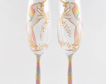 Long Tail Unicorn Crystal Champagne Flutes (curvy stem)