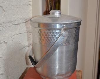 Mid century modern aluminum ice champagne bucket hammered silver