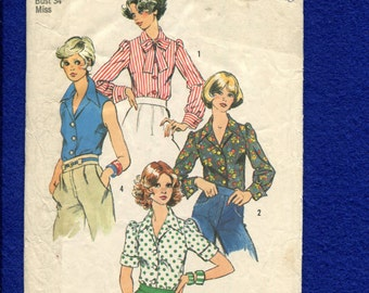 1973 Simplicity 6161 Retro Pointed Collar Blouses with French Cuffs & Puff Sleeves  Size 12