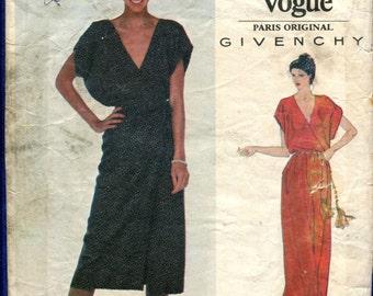 Vintage 1970's Vogue 2042 Givenchy Surplice Bodice Dress with Deep V Neckline Size 14