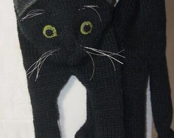 Black Cat Scarf Knitting  Christmas Gift, Knitting Cat Scarf