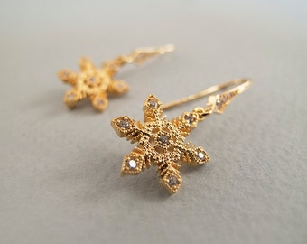 Gold Snowflake Dangle  Earrings