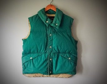 Men's Vintage Puffy Vest Green Down Feather Coat Hunting Vest Fishing Vest Winter Clothing Winter Outerwear Layer JcPenney 1970s Size Medium