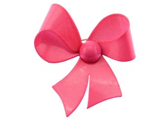 Vintage Pink Bow Brooch, Pink Enamel Bow Brooch, Pink Enamel Bow Pin, Pink Bow Pin