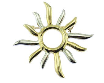 Vintage Silver and Gold Sun Brooch,  Gold Sun Brooch, Celestial Brooch