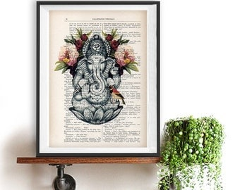 Retro Ganesha Peony Botanical Flowers Yoga poster Meditating Buddha Zen Wall Art Retro Vintage Book Dictionary Art Print Artwork